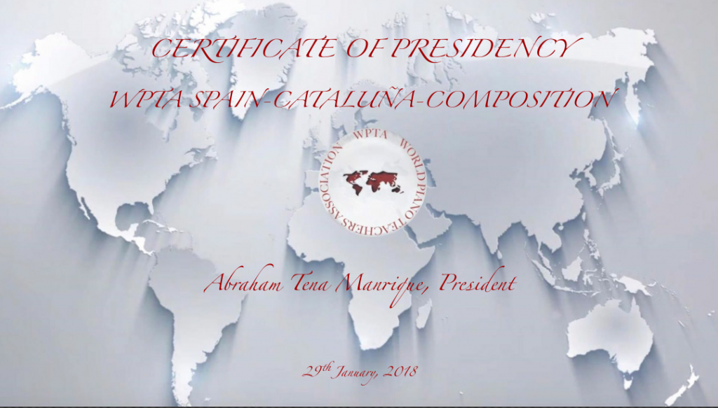 Abraham becomes President of the WPTA-SPAIN-CATALUÑA-COMPOSITION